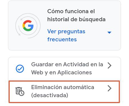 Cómo eliminar o borrar el historial de navegación de Google. Programa la eliminación de manera automática. Desde un Smartphone. Paso 4
