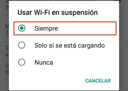 Cómo evitar que el WiFi se deconecte cuando el telefono Android se bloquea paso 5