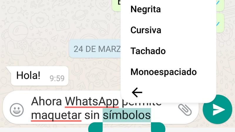 Cómo poner cursivas, negritas, monoespaciado y tachar palabras en WhatsApp
