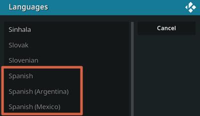 Configurar Kodi en español paso 4