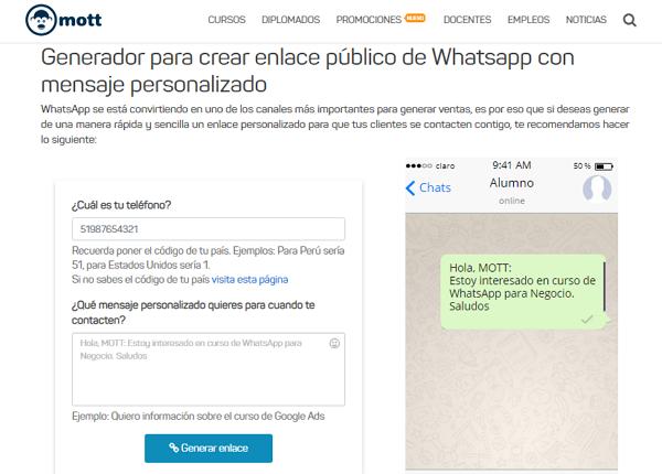 Crear un link personalizado de WhatsApp usando Mott
