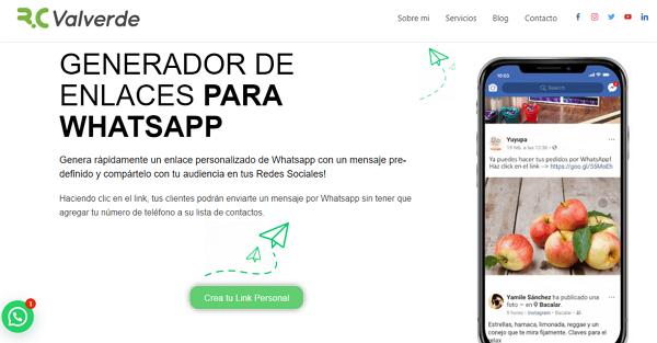 Crear un link personalizado de WhatsApp usando Rcvalverde