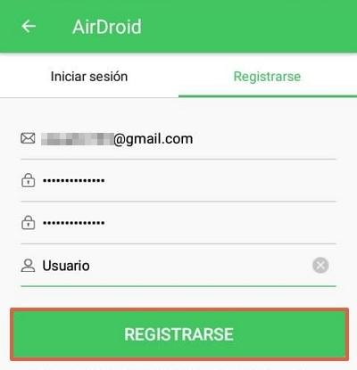 Crear una cuenta en AirDroid y vincular el dispositivo con la computadora paso 2.
