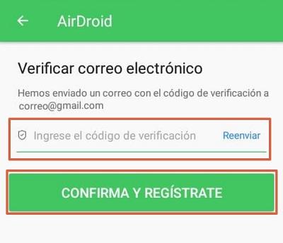 Crear una cuenta en AirDroid y vincular el dispositivo con la computadora paso 3
