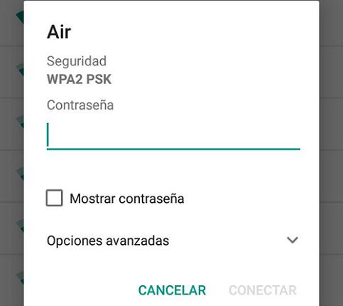 Desconexión de WiFi por olvido de red en Android