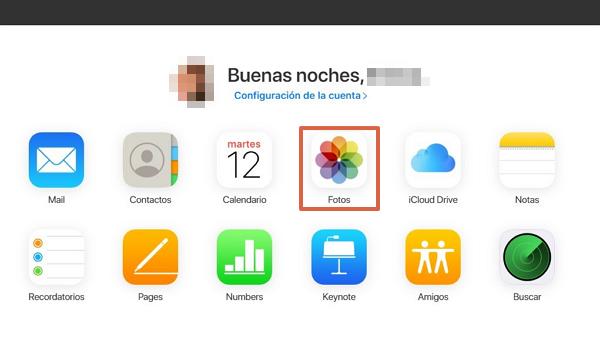 Fotos como funciones disponibles en iCloud desde Android