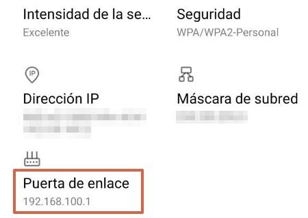 Puerta de enlace predeterminada para configurar tu router desde el móvil