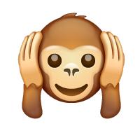 Carita de mono tapándose los oídos