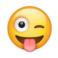 Carita sacando la lengua y haciendo un guiño
