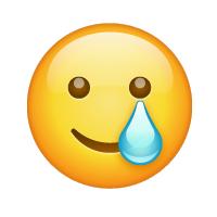 Carita sonriente con lágrima