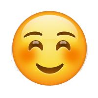 Carita sonrojada con sonrisa pequeña