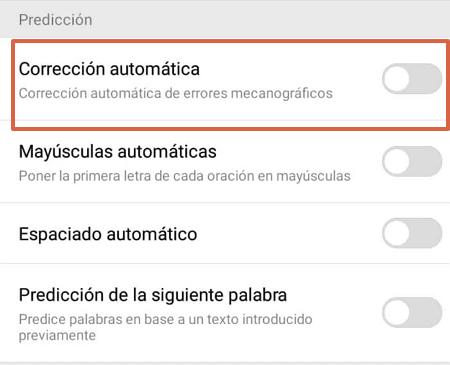 Cómo activar o desactivar el autocorrector del teclado Swipe en Smartphones Huawei paso 4