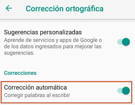 Cómo activar o desactivar el autocorrector del teclado de Google paso 5