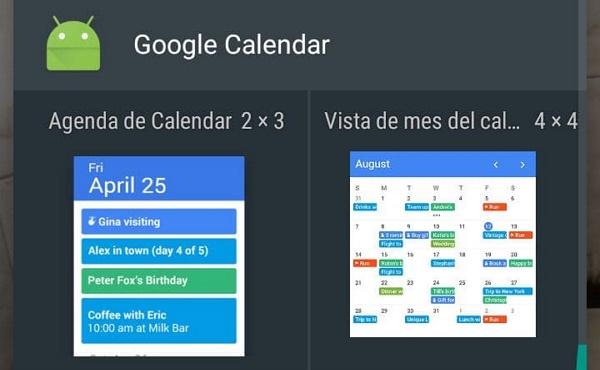 Cómo agregar widgets para ver el calendario