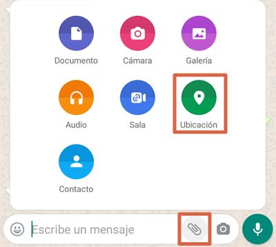 Cómo mandar ubicación directo desde WhatsApp paso 1