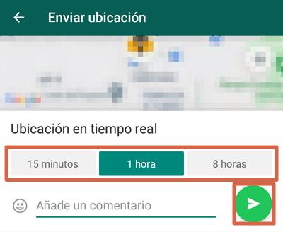 Cómo mandar ubicación en tiempo real directo desde WhatsApp paso 3
