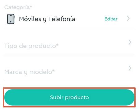 Cómo publicar un producto en Wallapop desde la app para dispositivos móviles paso 6