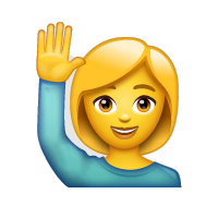 Persona con la mano levantada